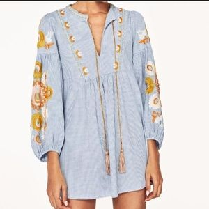 Zara Gingham Embroidered Dress/Tunic